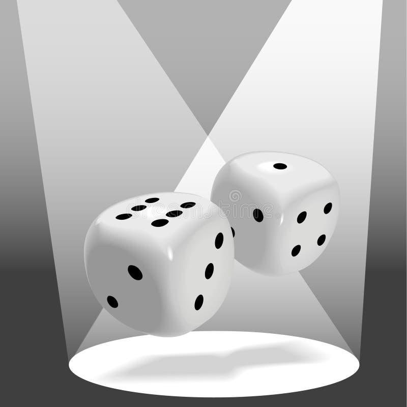 Os pares de dados brilhantes rolam uns 7 afortunados no projector ilustração royalty free