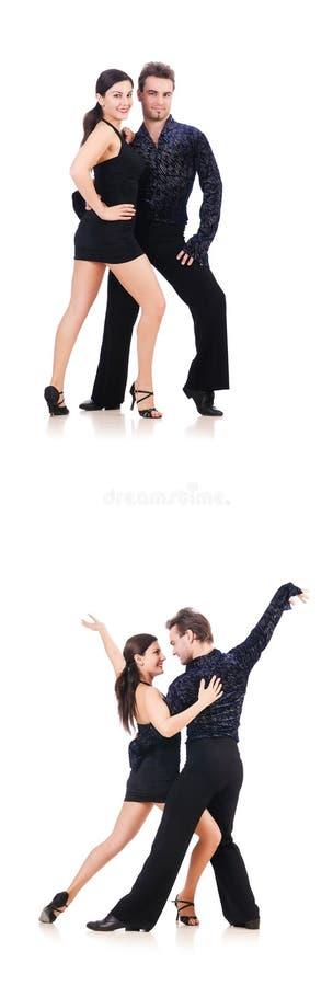 Os pares de dançarinos isolados no branco imagens de stock royalty free