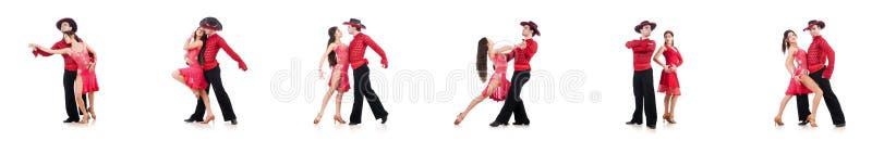 Os pares de dançarinos isolados no branco imagem de stock royalty free