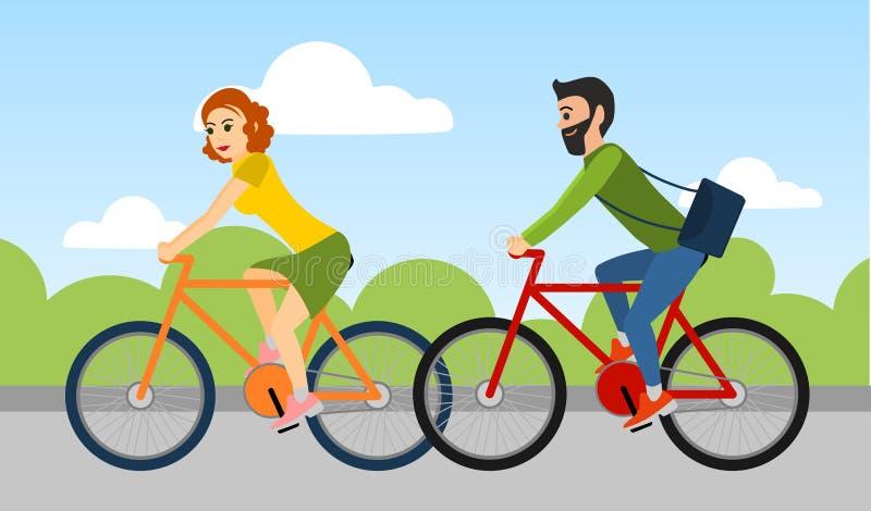 Os pares de homem e de mulher estão montando uma bicicleta fora ilustração stock