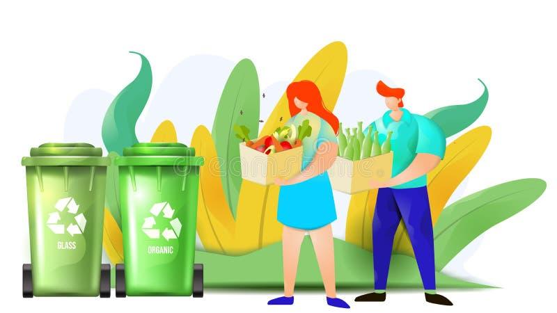 Os pares de homem e de mulher estão jogando desperdícios orgânicos e de vidro nos escaninhos de reciclagem imagens de stock