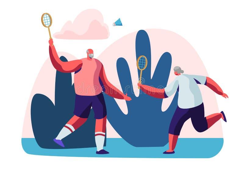 Os pares de pensionista masculinos alegres nos esportes vestem o jogo do badminton fora Estilo de vida dos povos superiores e vid ilustração royalty free