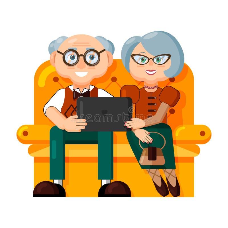 Os pares de pessoas adultas elegantes est?o sentando-se em um sof? com um port?til ou um tablet pc Ilustra??o isolada no fundo br ilustração do vetor