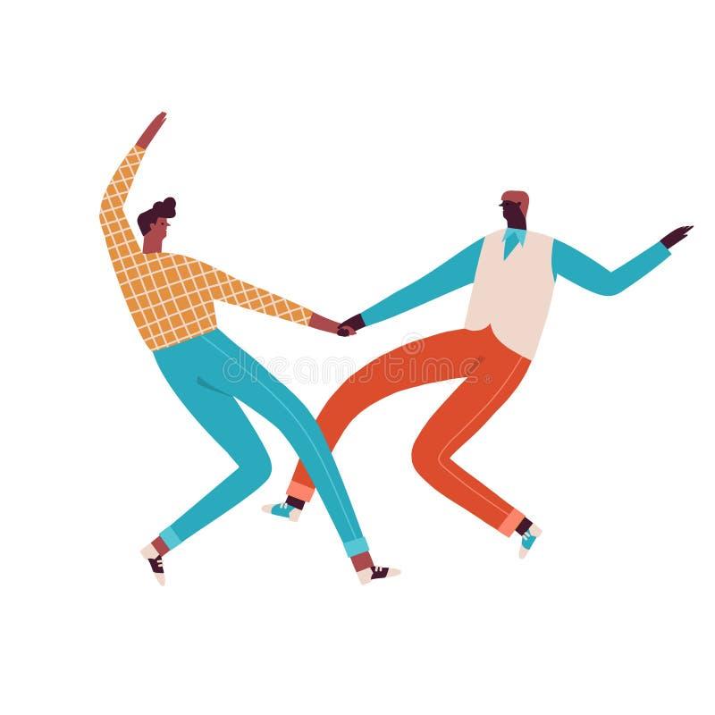 Os pares do balanço e da rocha n rolam os dançarinos que dançam a ilustração no vetor ilustração do vetor