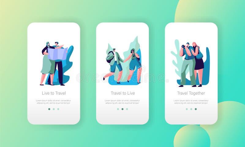 Os pares do turista viajam grupo a bordo da tela da página móvel do App Guy Walk na aventura urbana com câmera e mapa Caminhada ilustração do vetor