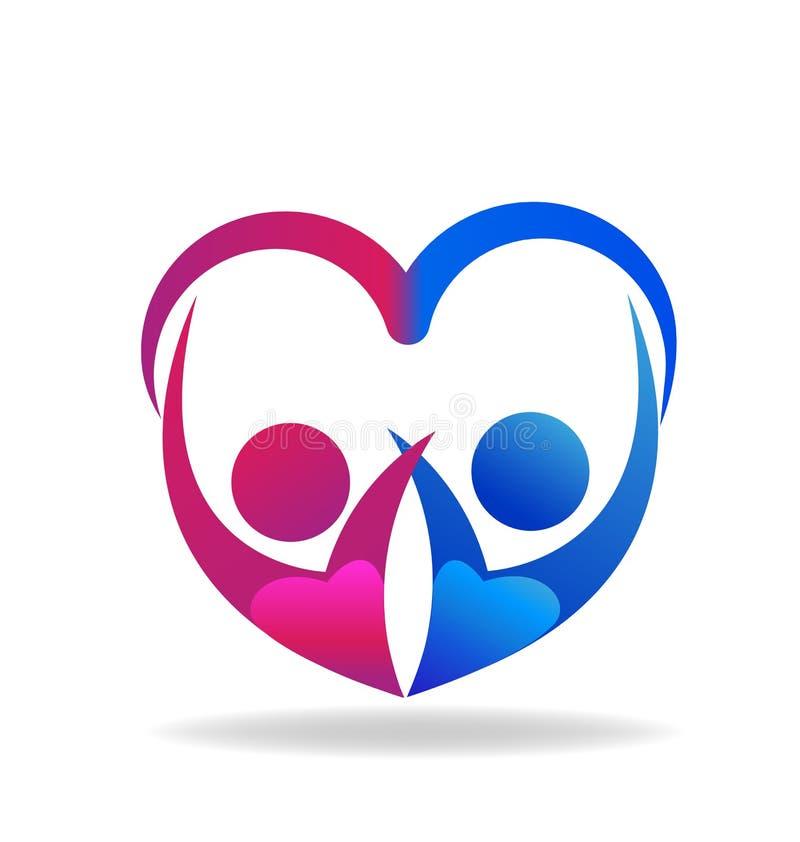 Os pares dos Valentim de coração do amor dão forma ao vetor do logotipo ilustração stock
