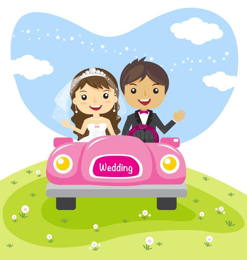 Os pares em um carro, desenhos animados do casamento casaram o projeto de caráter ilustração do vetor