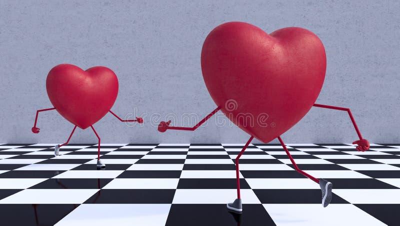 Os pares entre si de 3d corrido corações rendem ilustração stock