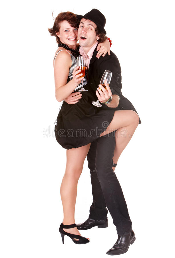 Os pares equipam e menina com dança do vinho. foto de stock