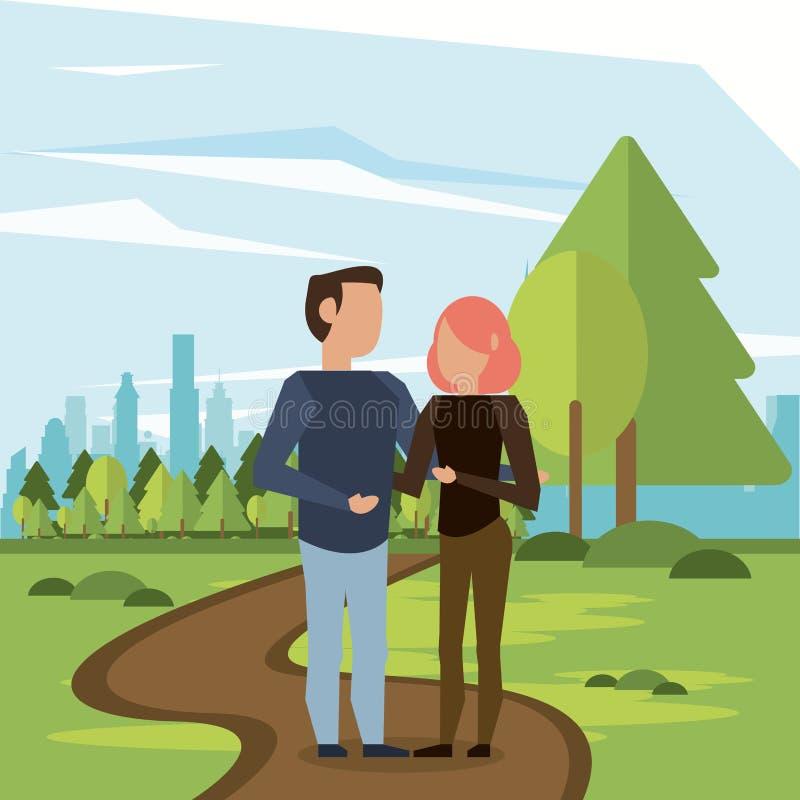 Os pares equipam e mulher ilustração royalty free