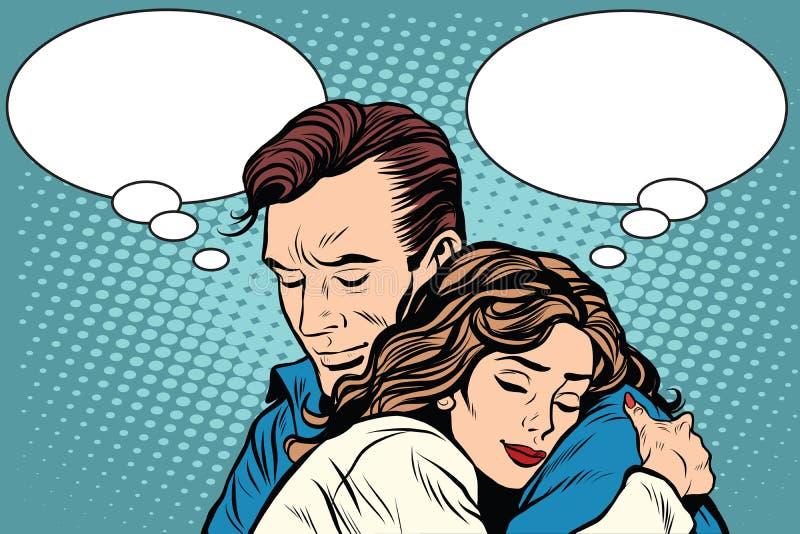 Os pares equipam e o abraço do amor da mulher ilustração stock