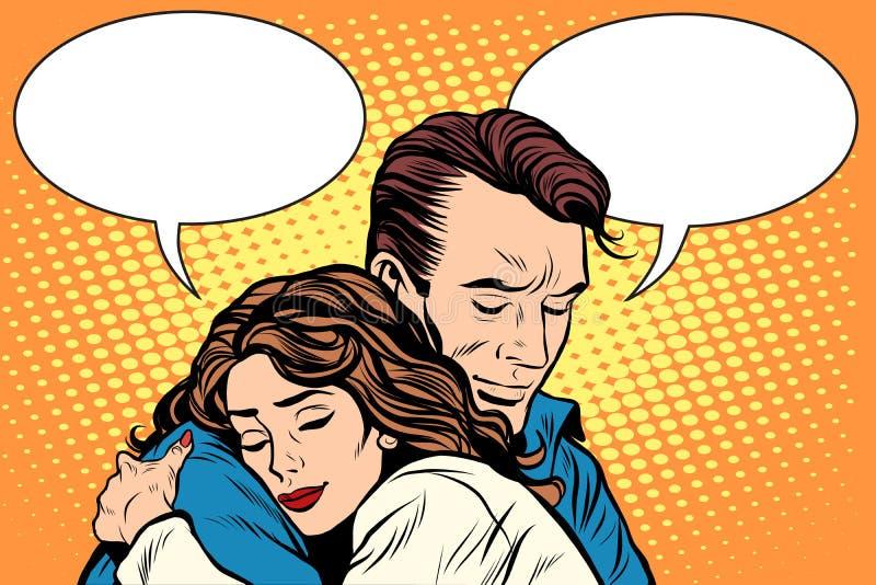 Os pares equipam e o abraço do amor da mulher ilustração do vetor