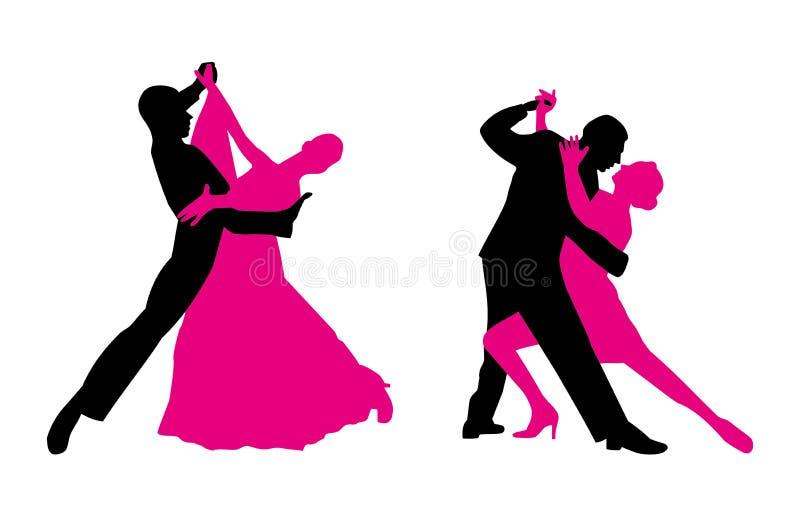 Os pares estão dançando ilustração stock