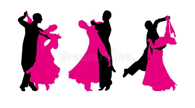 Os pares estão dançando a valsa ilustração royalty free