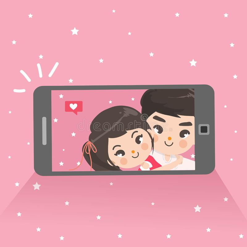 Os pares estão tomando selfies no telefone celular ilustração stock
