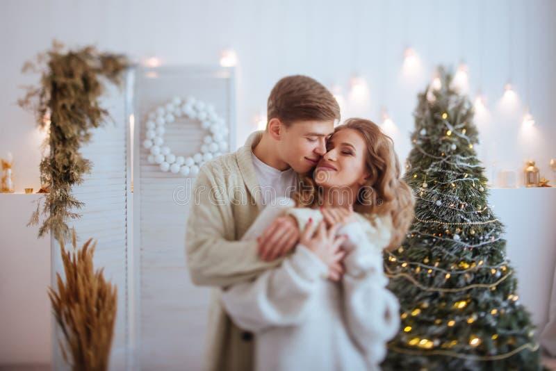 Os pares felizes do amor comemoram feriados do Natal fotos de stock royalty free