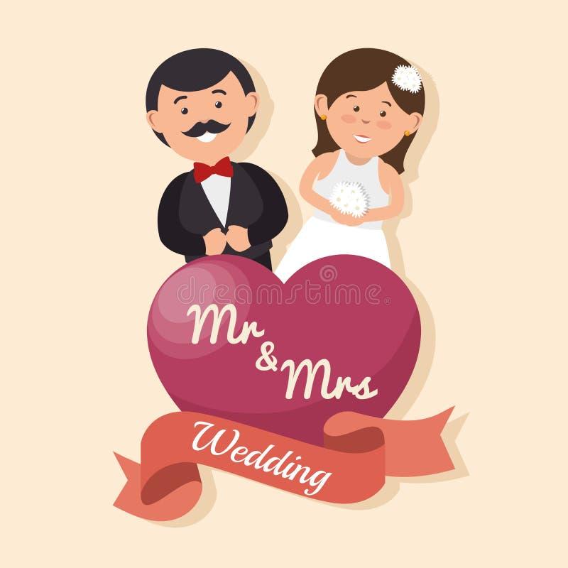 os pares felizes do cartão de casamento com Sr. Sra. do coração projetam o gráfico ilustração royalty free