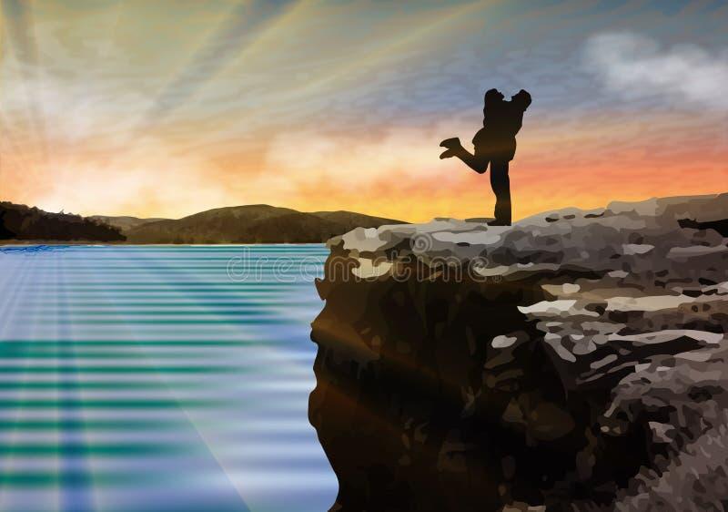 Os pares felizes mostram em silhueta o aperto em um penhasco à superfície da àgua no por do sol ilustração royalty free