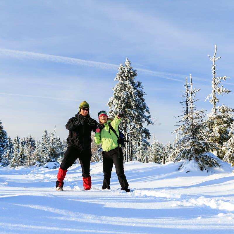 Os pares felizes que caminham na neve arrastam em montanhas do inverno imagens de stock royalty free