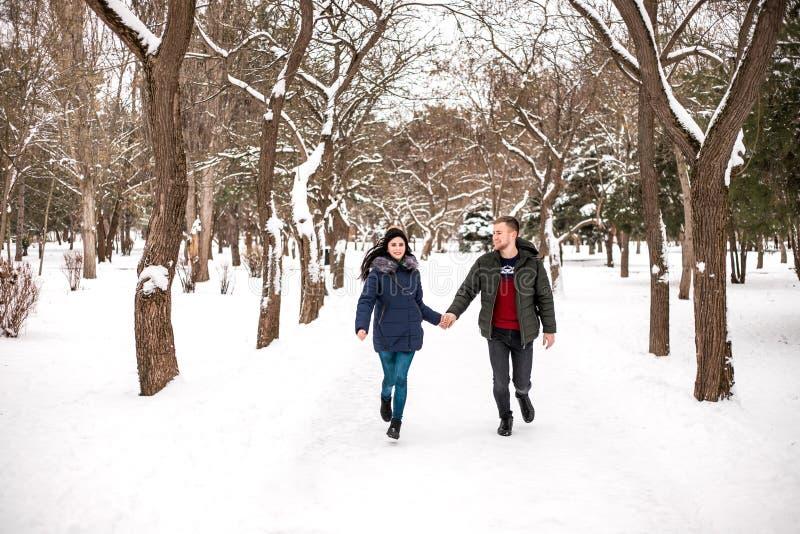 Os pares felizes têm o divertimento no parque do inverno imagem de stock royalty free
