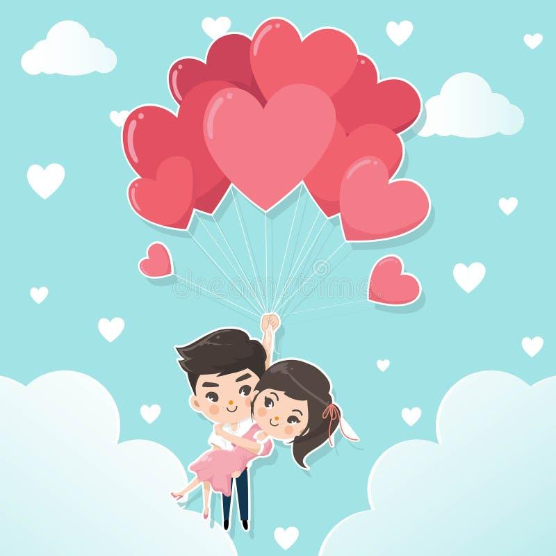 Os pares guardam o balão dado forma corações ilustração royalty free