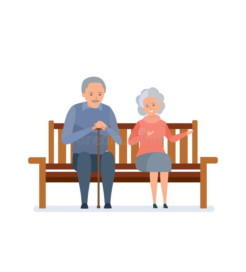 Os pares idosos bonitos que sentam-se em um banco, relaxam, comunicam-se ilustração stock