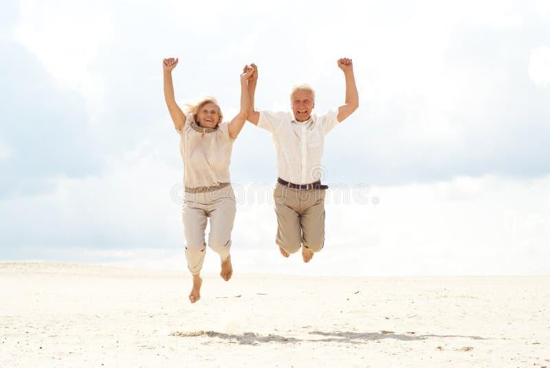 Os pares idosos magníficos apreciam a brisa de mar fotos de stock royalty free