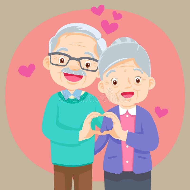 Os pares idosos que guardam as mãos fazem a forma do coração ilustração do vetor