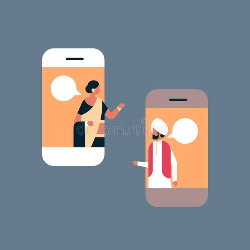 Os pares indianos conversam do diálogo em linha móvel do discurso do conceito de uma comunicação da aplicação da bolha desenhos a ilustração royalty free