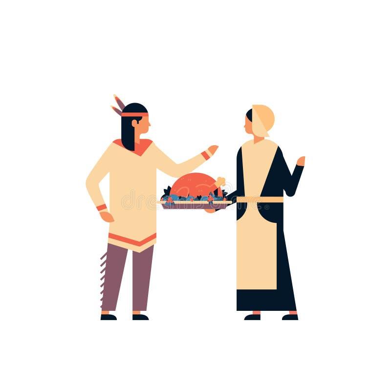 Os pares indianos do nativo americano que comemoram a mulher do conceito do dia da ação de graças que guarda o peru equipam desen ilustração do vetor