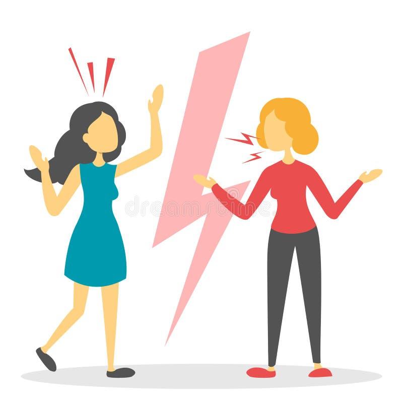 Os pares irritados discutem Gritaria e luta dos povos ilustração stock
