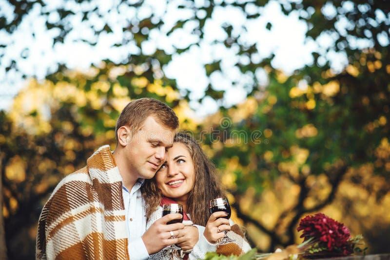 Os pares loving com os vidros de vinho que abraçam no outono estacionam imagens de stock