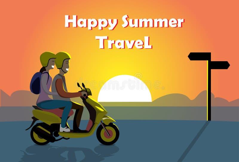 Os pares montam a motocicleta elétrica do 'trotinette', mulher do homem sobre a bandeira feliz do curso do verão da praia do ocea ilustração do vetor