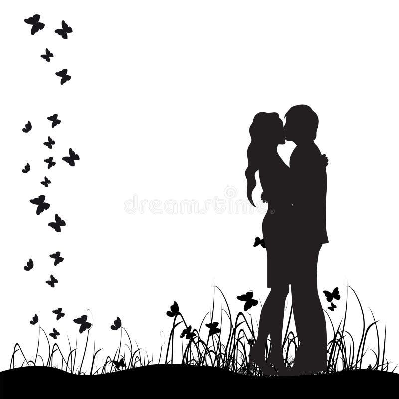 Os pares mostram em silhueta, beijam, prado ilustração do vetor