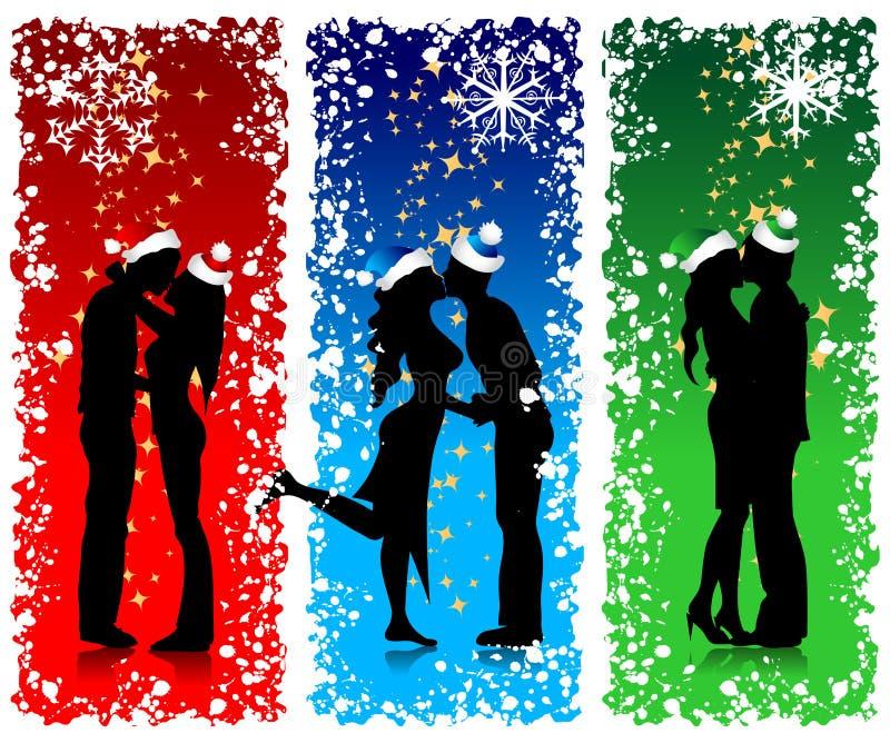 Os pares mostram em silhueta, Natal ilustração do vetor