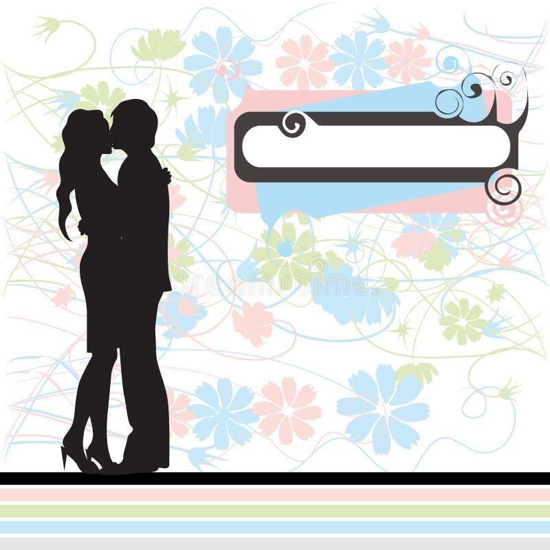 Os pares mostram em silhueta, Valentim ilustração royalty free