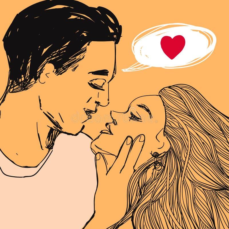 Os pares no amor, na mulher bonita e no homem querem beijar-se Vector a ilustração do estilo do pop art do dia do ` s do Valentim ilustração stock