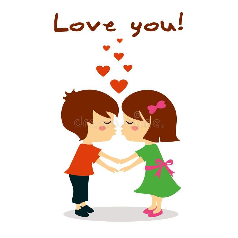 Os pares no amor que beija, amam-no ilustração royalty free