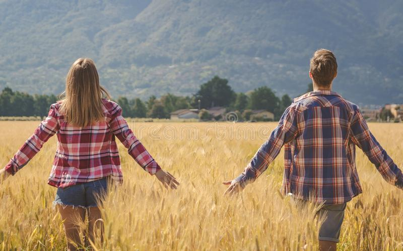 Os pares novos contemplam o campo de trigo imagem de stock royalty free