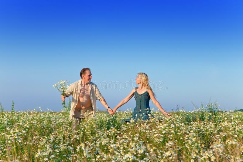 Os pares novos felizes no campo das camomilas. Retrato em um dia ensolarado fotografia de stock