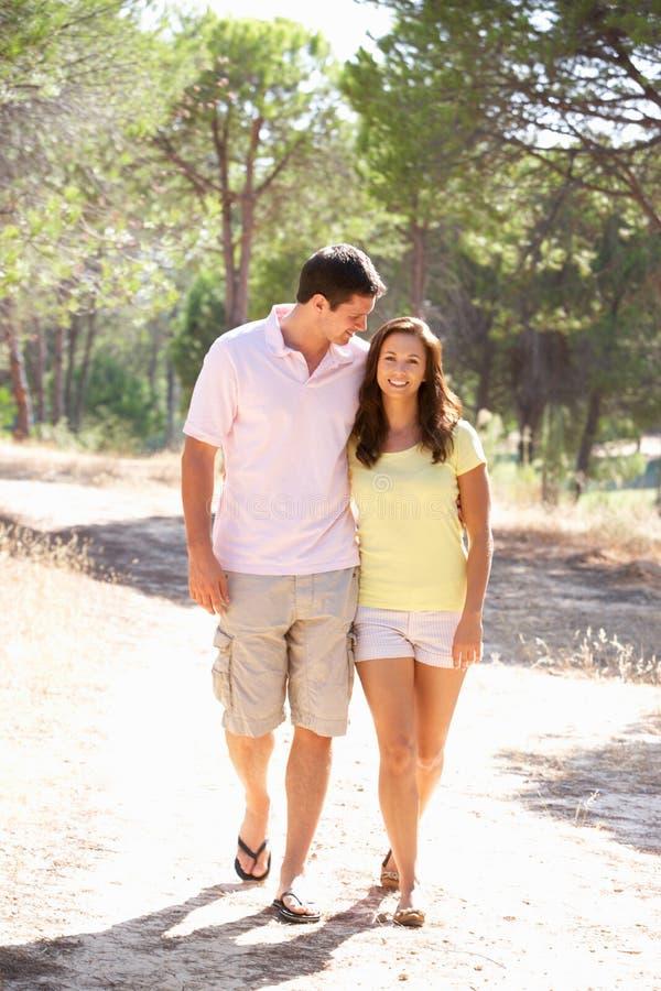 Os pares novos, prendendo as mãos, andando, andam no parque foto de stock royalty free
