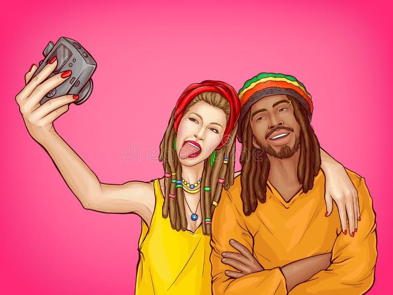 Os pares rastafarian do pop art do vetor fazem o selfie ilustração do vetor