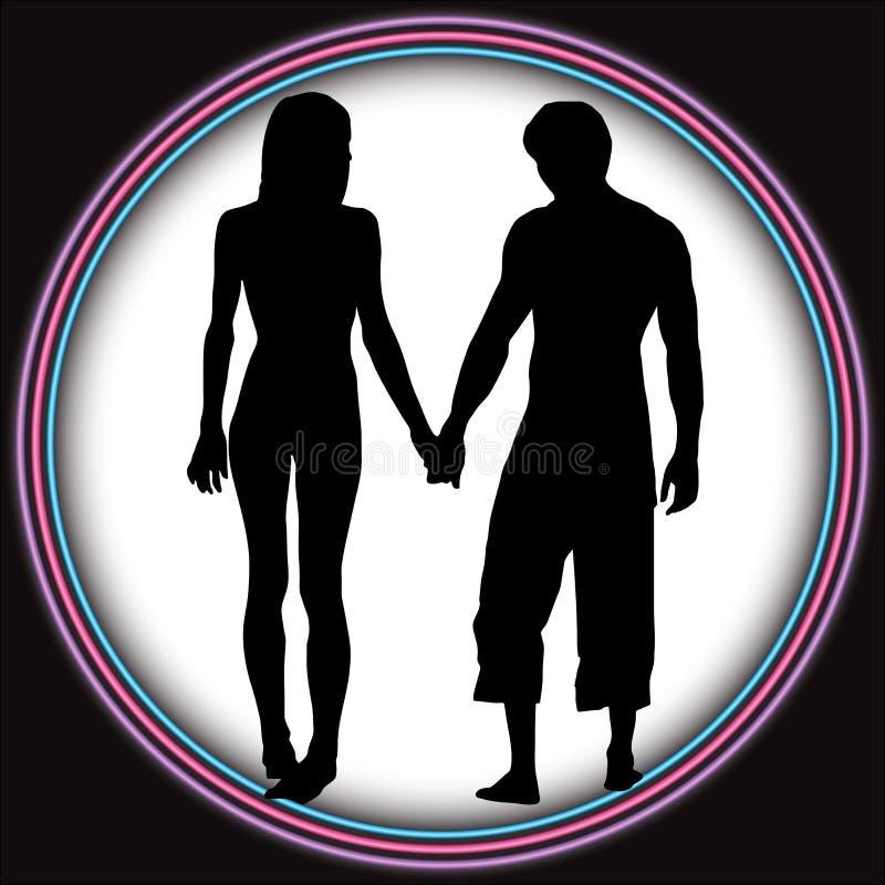 Os pares românticos amam o túnel ilustração do vetor