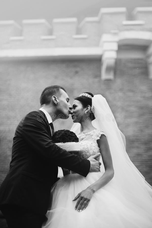 Os pares românticos do recém-casado que abraçam na frente do castelo velho muram clo foto de stock royalty free