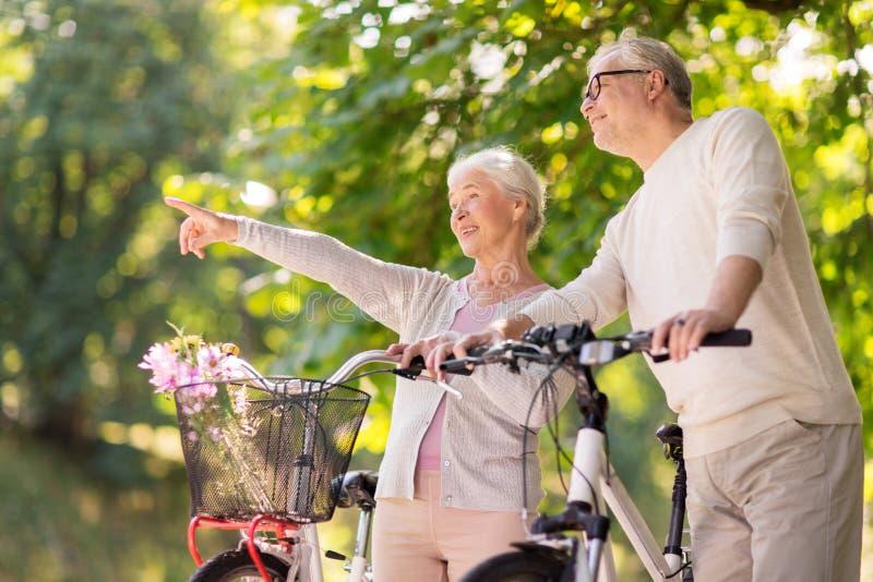 Os pares superiores felizes com as bicicletas no verão estacionam imagens de stock