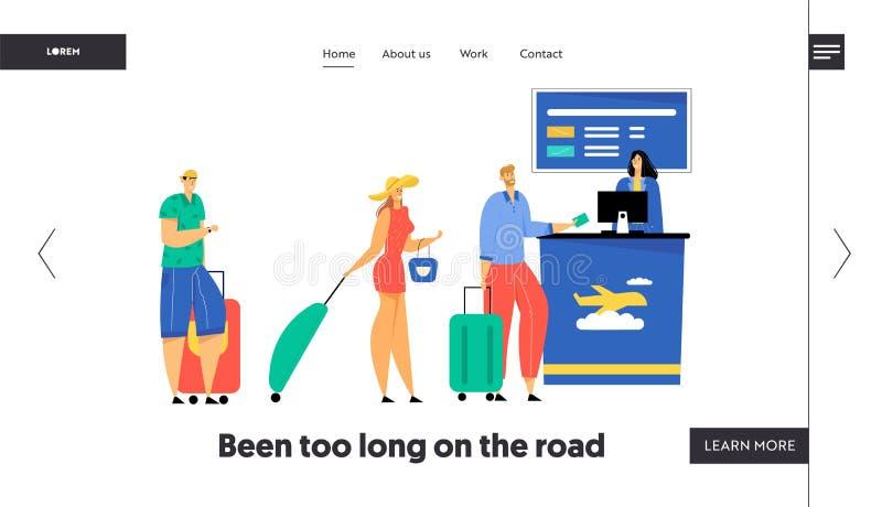 Os passageiros com suporte da bagagem na fila que prepara documentos para o registro do voo no aeroporto, verificam no embarque ilustração royalty free