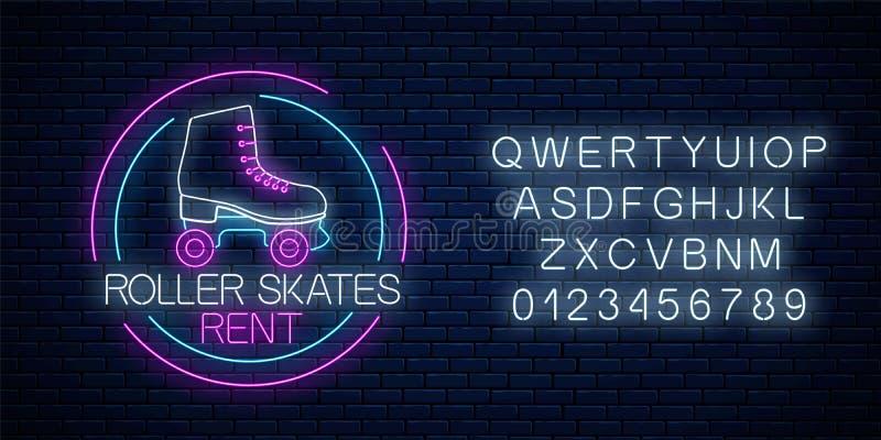 Os patins de rolo retros alugam o sinal de néon de incandescência no quadro do círculo com alfabeto S?mbolo da zona do patim no e ilustração stock
