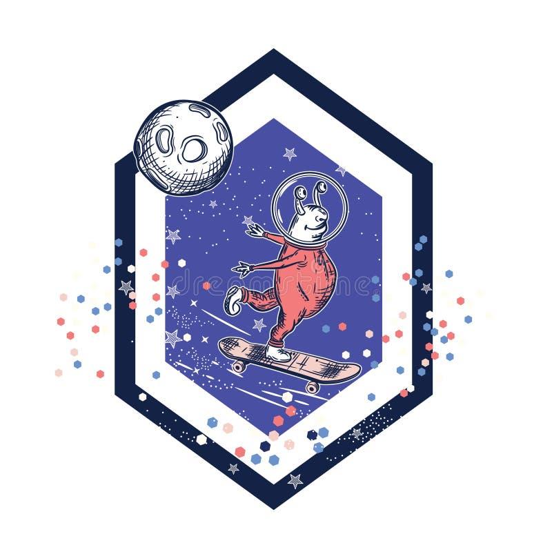 Os patins estrangeiros em um skate Projeto do t-shirt ilustração do vetor