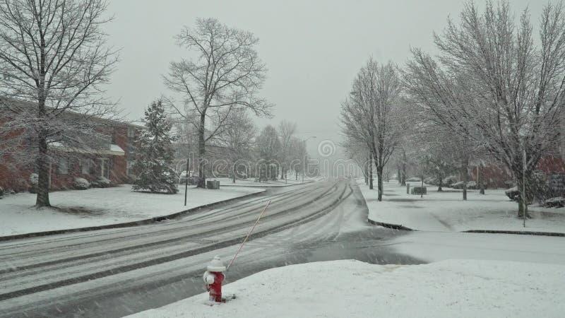 Os pedestres e o tráfego abaixam a rua durante uma tempestade da neve em Carroll Gardens, Brooklyn foto de stock