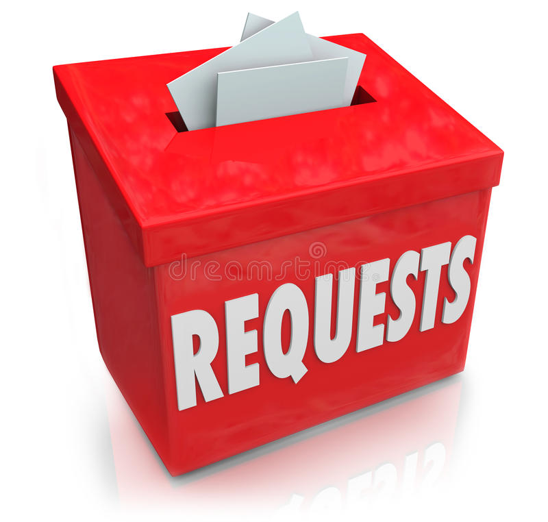 Os pedidos a caixa de sugestão que quer desejos submetem ideias ilustração do vetor